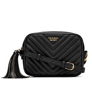 Victoria's Secret Black V-Quilt Crossbody Belt Bag